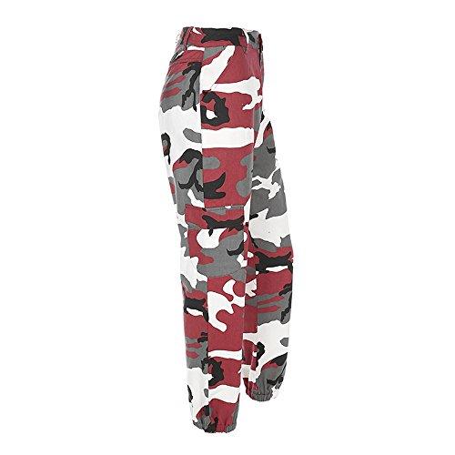 All'aperto Jeans Moda Stampata Mimetica Alta donne jeans Sexy Pantaloni Vita Casual Sport Donna Rosso Lqqstore HYwOPIxqn