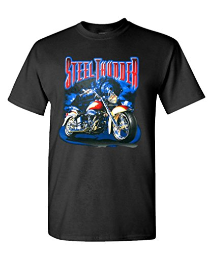 STEEL THUNDER - motorcycle biker Tee Shirt T-Shirt, 2XL, Black (Thunder Motorcycle T-shirt)