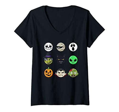 Womens Scary Faces Halloween Emoji Boys Girls Kids