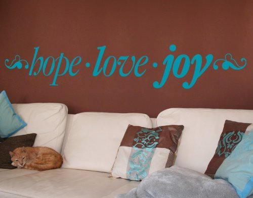 Hope . Love . Joy Wall Decal by Style & Apply - highest quality wall decal, sticker, mural vinyl art home decor, quotes and sayings - 4332 - Turquoise, 31in x 5in