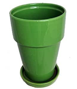 """Fiesta Tall Apple Green Ceramic Pot with Attached Saucer - 5.5"""" x 7.75"""""""