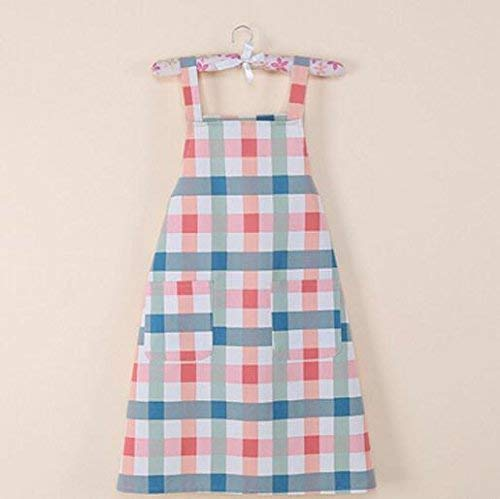 (ZHAS Apron Supplies Fashion Antifouling Smock Plaid Sleeveless Apron for Home (Color :)