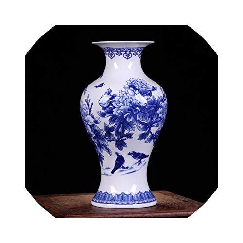 (shiny star show Blue and White Porcelain Vases Fine Bone China Vase Peony Decorated Ceramic Vase,B)