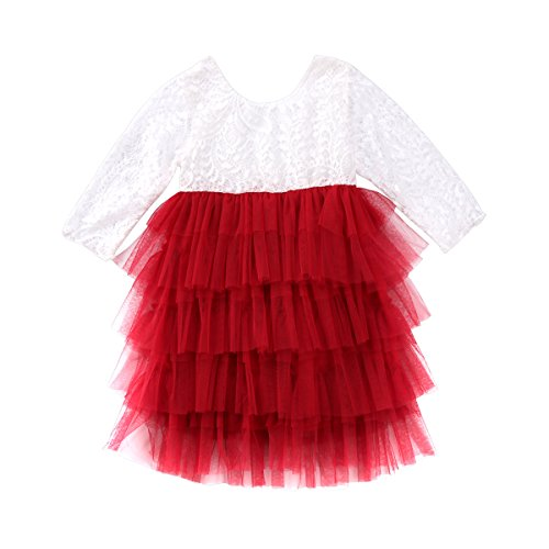 Toddler Baby Girl Tutu Lace Party Dress Flower Girl Dress Long Sleeve Princess Dress Kids Girl Floral Fashion Dress Clothes (White Red, 3-4 Year)