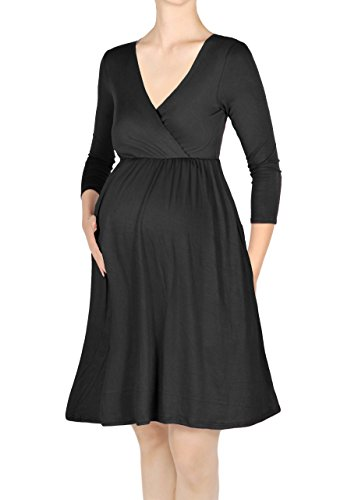 3/4 sleeve black dress knee length - 7