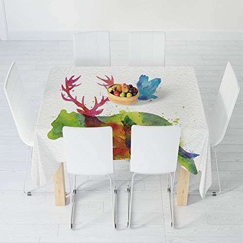 Fashionable Tablecloth,Animal Decor,for Secretaire Square Table Office Table,63 X 63 Inch,Alaska Animals Bears Wolfs Eagles Deers in