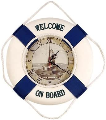 HS Welcome On Board Life Ring Clock