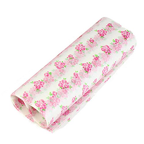 Wax Paper Sheets For Food, Gosear 50 Sheets Oilpoof Food Wax Paper Candy Wrapping Packaging Paper Sheet For Almond Sugar Chocolate Cookie Macaron Hamburger Cake Bread Rose Style