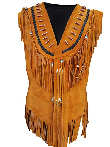 - Womens Native American Indians Cowgirl Fringe Western Wear Suede Leather Brown Vest