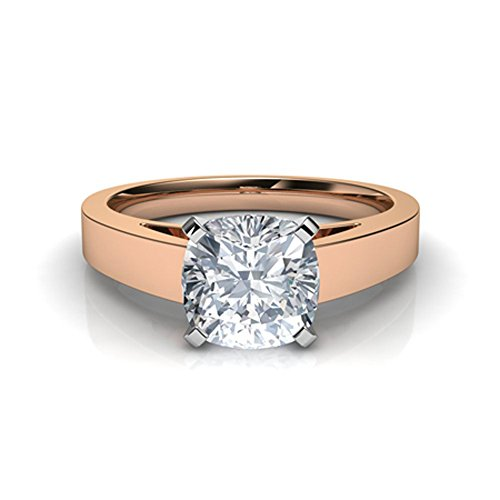 (Silvergemking 1.20Ctw Cushion CZ Diamond 14K Rose Gold Pl Flat Edged Cathedral Solitaire Engagement Ring)