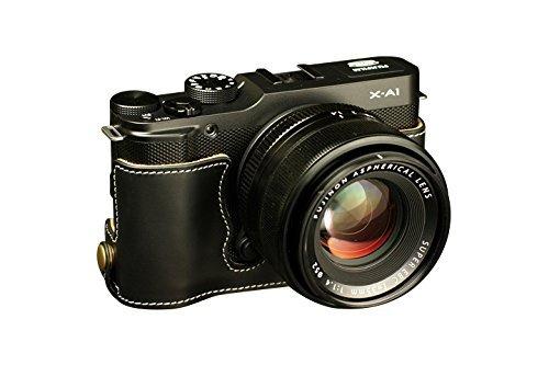 富士フイルム X-A1 (XA1)用本革カメラケース(電池,SDカード交換可) ブラック B07T13G8VK カメラケース&ストラップTP1881&バッテリーケース FreeSize