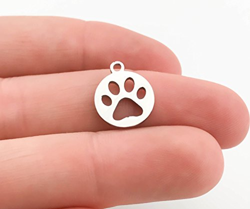 5 Stainless Steel Animal Paw Charms, Highly Polished, No Tarnish Pendants (14mm x - Charm Silver Polished Paw