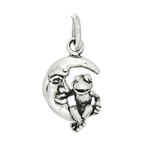 Sterling Silver Oxidized Small One Sided Frog Sitting on Crescent Moon Charm
