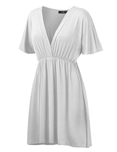 Womens Short Sleeve Kimono Style Dress Top L White