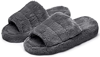 TOEDNNQI House Slippers for Women Fluffy Furry Fur Open Toe Anti-Skid Comfy Fuzzy Indoor Outdoor Wedge Sandals