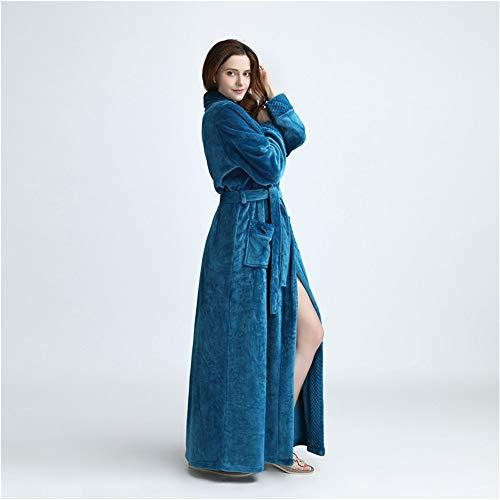 flanella da L accappatoio lounge JK adulto tasche vestaglia spa morbida abbigliamento cintura unisex Luxury Blue M Flanella Plus rosa e con notte vestaglia Dimensioni indossa accappatoio super wXwxA4v57q