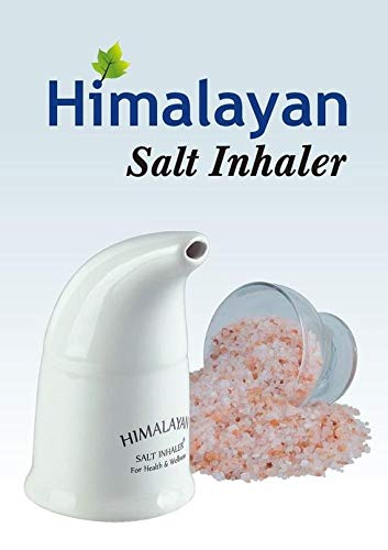 (SANTMIRA Ceramic Himalayan Salt Inhaler Kit with Salt, Real Pink Crystal Rock Inhaling Salts,for Asthma, Bronchitis, Hay Fever, Allergies & Other Respiratory & Breathing)