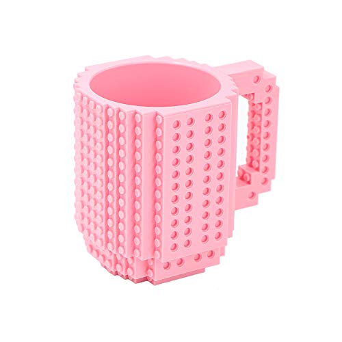 Havitar (any choice of 10 colors) creative building blocks mug DIY assembly cup Lego cup coffee cup + 3 packs of blocks, Christmas gifts(pink) -