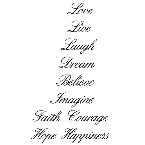 Homefind Love Live Laugh Dream Believe Imagine Faith Courage Hope Happiness Stairs Step Sign Home Vinyl Wall Decals Quotes Sayings Words Arts Decors Lettering Vinyl Wall Arts for Upstaris Stairs