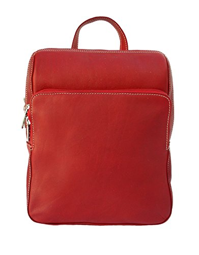 Piel Leather Slim Front Pocket Backpack in Red