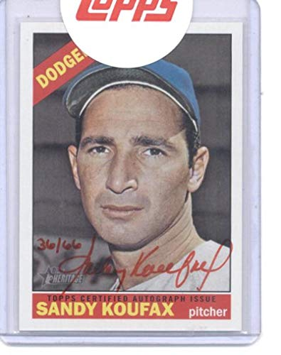 2015 Topps Heritage Real One Autographs Red Ink #ROA-SK Sandy Koufax Dodgers MLB Baseball Card (Autographed) /66 NM-MT