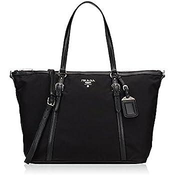 9693b720ce Prada Tessuto Saffian Black Nylon and Leather Shopping Tote Bag 1BG253