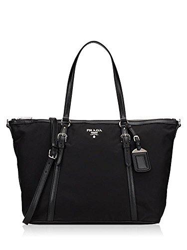 Prada Tessuto Saffian Black Nylon and Leather Shopping Tote Bag 1BG253