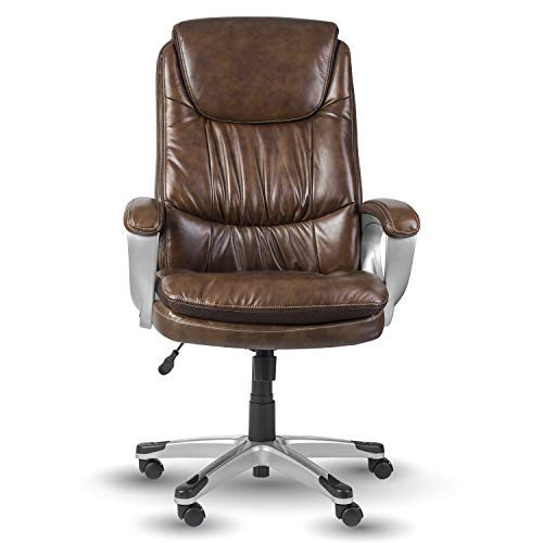 (Halter HAL-065 Executive 100% Cow Grain Leather Office Chair, Home & Office Computer Desk Chair, w/Nylon Coated Base, Arms & Padded Arm Rests 28.5