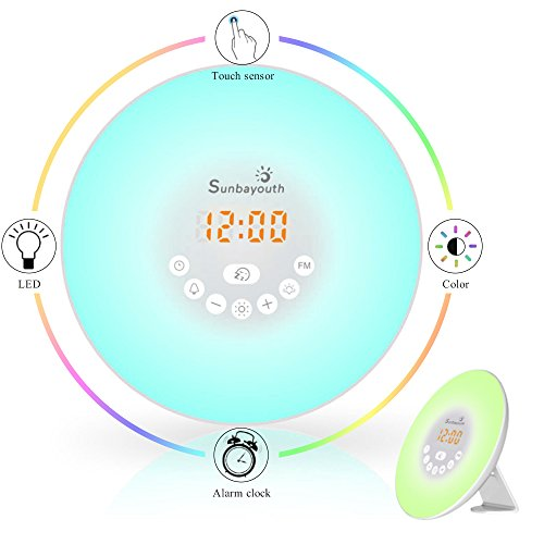 Sunba Youth Wake Up Light, Sunrise Alarm Clock Radio with 7 Color Night Light, 6 Nature Sounds, and FM Radio for Bedside Lamp