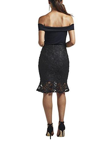 Lipsy Mujer Falda de encaje con volante en el bajo Negro