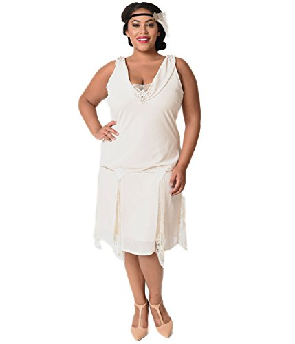 Unique Vintage Plus Size 1920s Style Cream Hemingway Flapper Dress by Unique Vintage