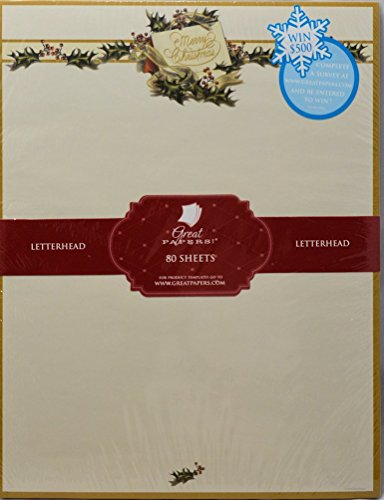 Vintage Christmas Holly Stationery - 80 Sheets by Great Papers!