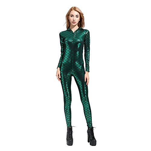 SAINDERMIRA Women's Sexy Metallic Fish Scale Mermaid Bodysuit Shiny Unitard Costumes(Green,M)