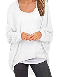 Women's Sweater Casual Oversized Baggy Off-Shoulder Shirts Batwing Sleeve Pullover Shirts Tops