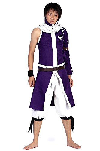 [SDWKIT Fairy Tail Series 2 Salamander Dragon Slayer Dragneel Natsu Outfit Set V4] (Dragon Ball Costume With Tail)