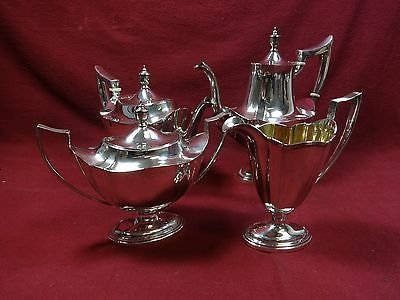 (PLYMOUTH BY GORHAM STERLING SILVER TEA SET COFFEE SUGAR CREAMER)