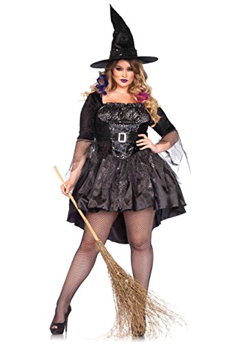 Leg Avenue Women's Plus-Size 2 Piece Black Magic Mistress Witch Costume, Black, 1X (Sexy Witch Halloween)