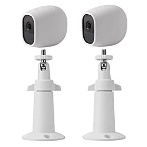 EEEKit Adjustable Outdoor Indoor Mental Wall/Ceiling Mount+ Protective Silicone Skins Cover Case for Arlo Pro/Arlo Pro 2 Home Camera (2-Set White)