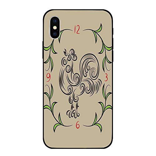 (Phone Case Compatible with iPhone X Brandnew Tempered Glass Backplane,Kitchen Decor,Rooster and Floral Art Decorative Clock Time Swirls Leaves Farm Animal Theme Decoration,Grey Green,Anti-shock and sh)