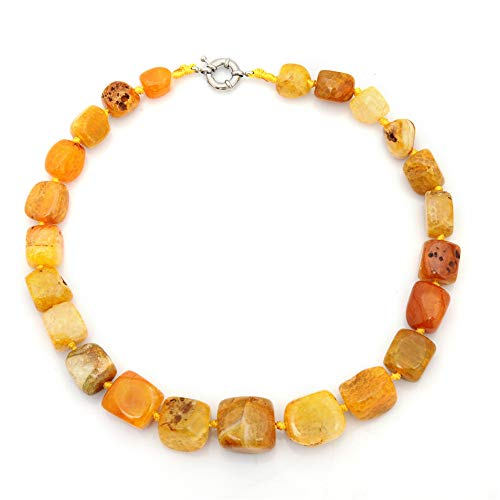 (WANZIJING Genuine Agate Necklace, Natural Irregular Reiki Crystal Stones Pendant Necklace Stunning Agate Choker Unisex 20'',Yellow)