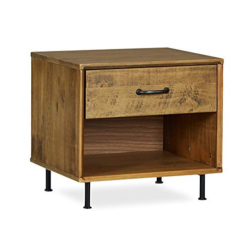 (MUSEHOMEINC Rustic Solid Wood Nightstand with Drawer and Shelf for Bedroom Mid-Century Modern Style/Metal Leg Design/End Table/Side Table, Teak Finish)