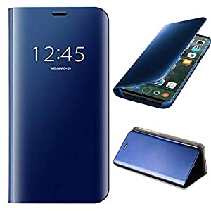 Avianna Smart Clear View Kicstand with 360 Degree Protection Mirror Flip Cover with Redmi Note 10S (Diamond Blue)