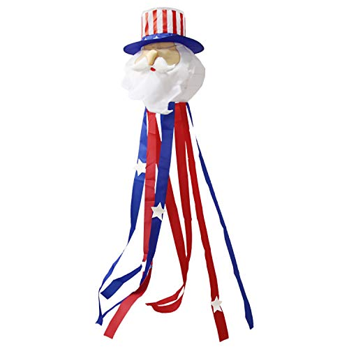 (OUTOUR Cute Windsock Wind Sock 51 Inch The Star-Spangled Anner Sock Uncle Sam Fourth of July American USA Independence Day Decoration 4th of July Patriotic Party for Garden Patio Lawn Backyard)
