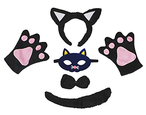 Petitebella Animal Headband Bowtie Tail Gloves Mask 5pc Children Costume (Black Cat) ()