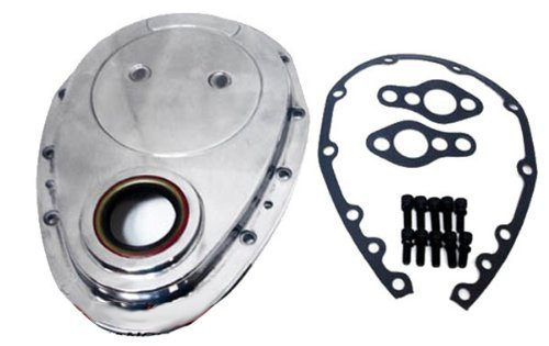 (Chevy Small Block 283-305-327-350-400 Aluminum Timing Chain Cover Set - Polished)