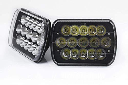 """AOSI 2pc Universal 7"""" x 6"""" 45W LED Headlight with Black, used for sale  Delivered anywhere in USA"""