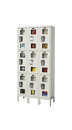 78 in. High 3-Tier Safety-View Knock-Down Locker in Parchment (12 in. W x 15 in. D x 78 in. H)