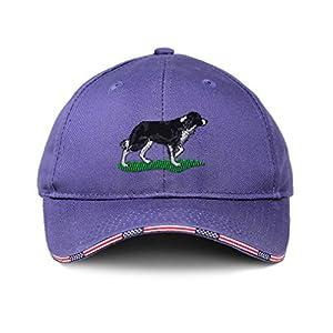 Custom American Flag Hat Border Collie Dog Embroidery Design Cotton 40