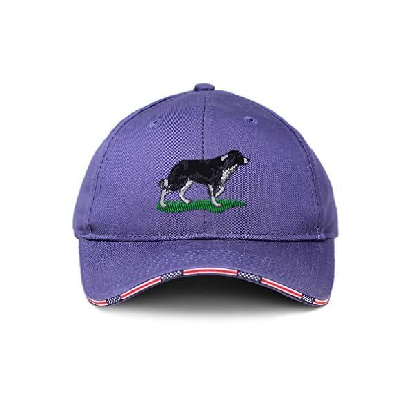 Custom American Flag Hat Border Collie Dog Embroidery Design Cotton 1