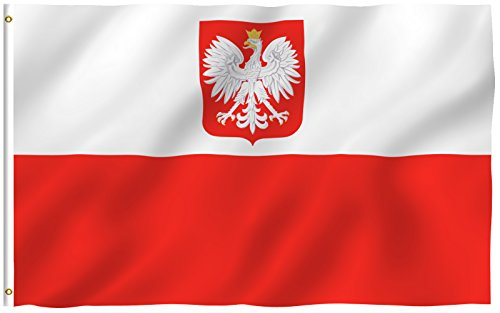 ANLEY [Fly Breeze] 3x5 Foot Poland State Ensign Flag - Vivid Color and UV Fade Resistant - Canvas Header and Double Stitched - Polish Eagle Flags Polyester with Brass Grommets (Coat Arms State Of)